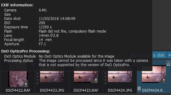 DXO doesn't support RAW files from some Fuji and Sigma cameras as they use a different color filter arrangement to the majority of other cameras