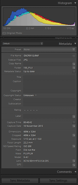 Viewing camera metadata in Lightroom. The main points are summarized under the histogram at the top.