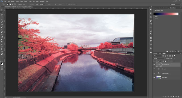 Photo open in Adobe Photoshop CC as a smart object with adjustment layers