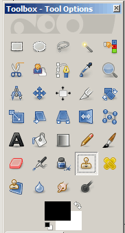 Clone stamp in tool palette in GIMP