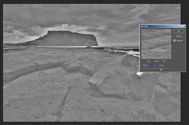 High Pass filter dialog in Photoshop CC