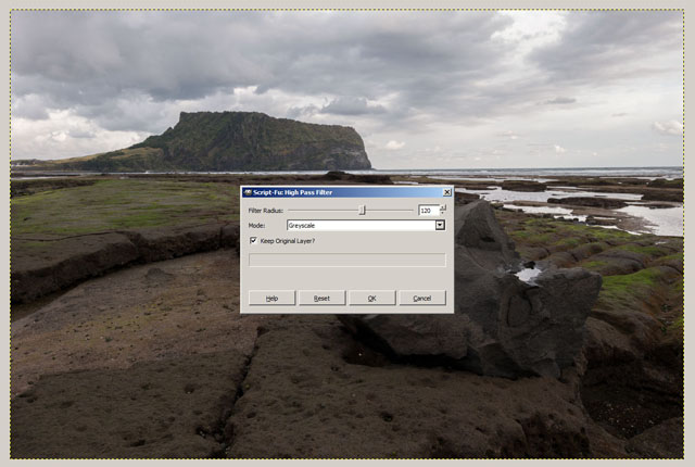 High Pass Filter options in GIMP