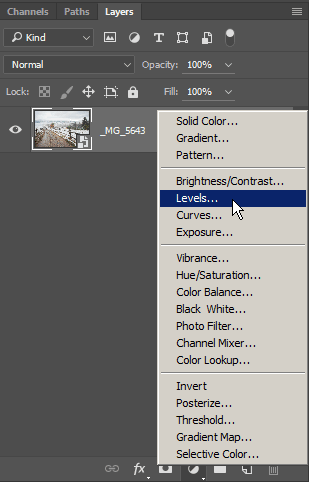 Levels adjustment layer location in Photoshop CC