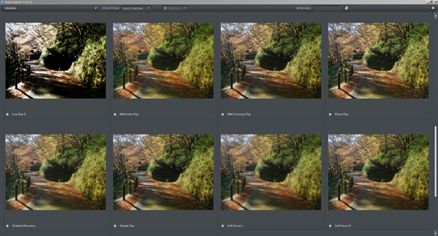 Large preview thumbnails of effects in Topaz Adjust