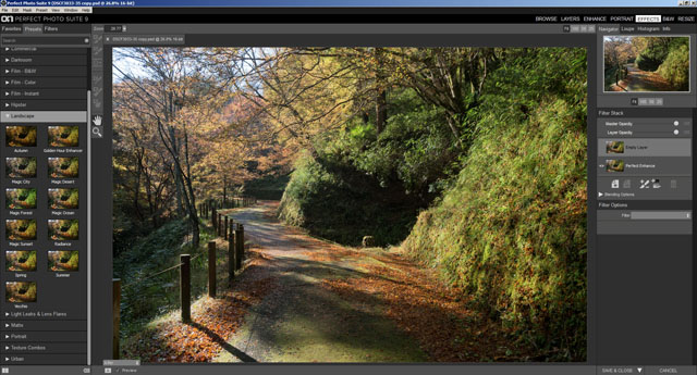 OnOne Perfect Photo / Effects has a wide range of built-in presets and filters