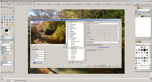 G'MIC for GIMP offers a large number of filters including many film simulations