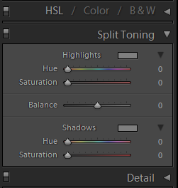 Split toning tab in Lightroom