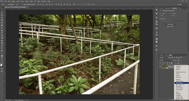 Adding a color balance adjustment layer in Photoshop