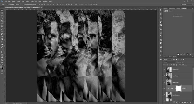 Invert adjustment layer clipped to the middle layer