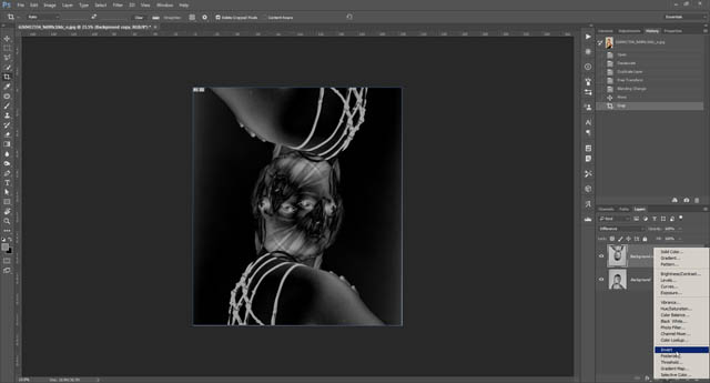 Adding an invert adjustment layer on top of the layers