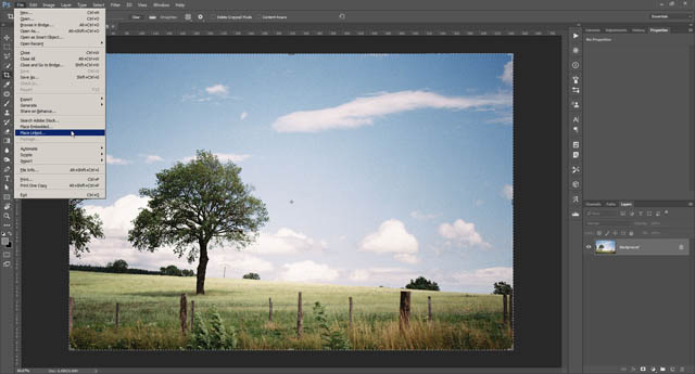 Placing the texture image as a layer via the Place Linked command in Photoshop CC