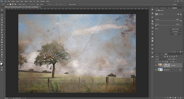 Difference clouds filter applied to texture's layer mask