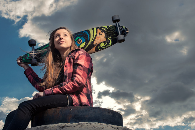 Katie the Skateboarder - portrait photo with large depth of field