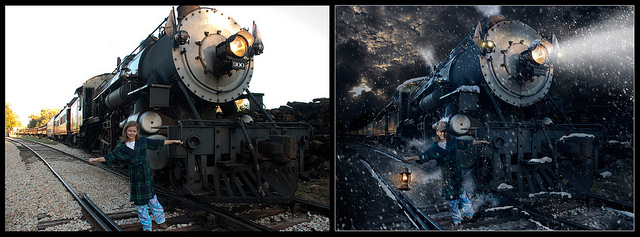 Before and after comparison of a very heavily edited image, from a bright sunny day to a dark snowy night