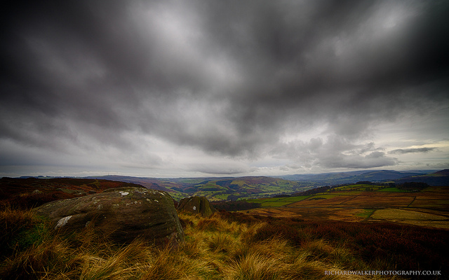 Landscape photo taken under an overcast sky in the Peak District