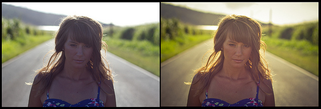 Portrait comparison between before and after post processing