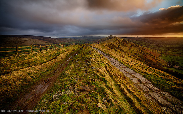 Landscape photo taken during the golden hour of sunset in the Peak District
