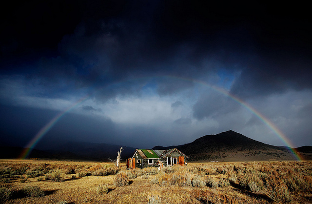 Rainbow over shack, Lee Vining, CA