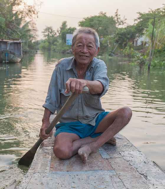 Portrait of a Vietnamese boat man