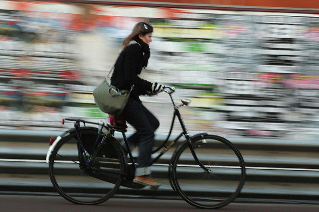 panning photo of a cyclist