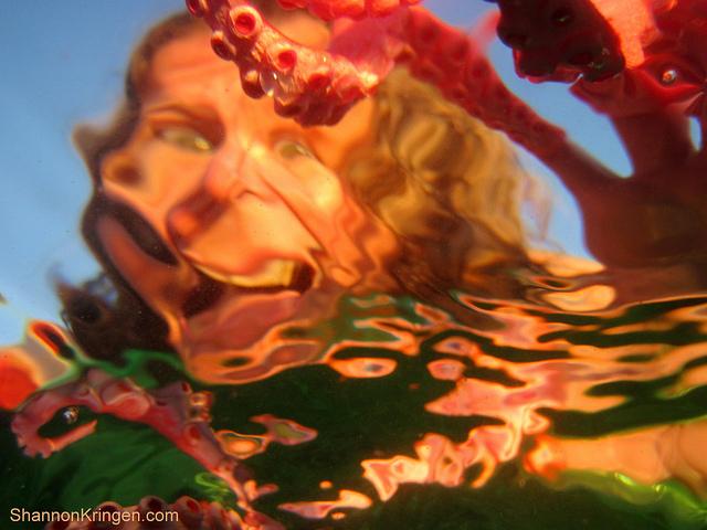 distorted portrait taken through rippling water