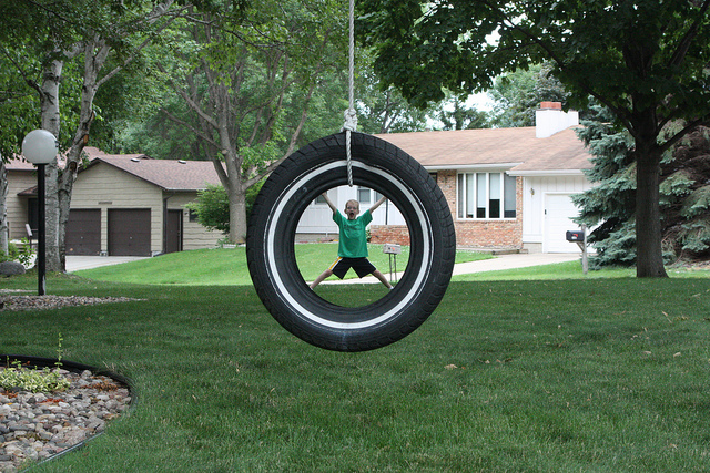 Forced Perspective photo of a boy in a tire