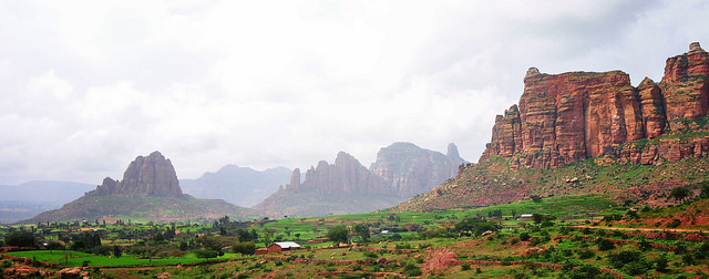 Tigray, Ethiopia. The further the mountains in the distance are, the more hazy they appear