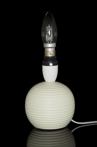 Photo of a lamp taken using ring flash from the camera position. There is not much shadow and highlight areas on the lamp, giving an image that looks very flat and 2D.