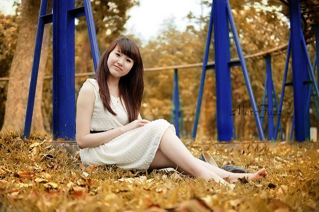 Portrait taken outside using a shallow depth of field