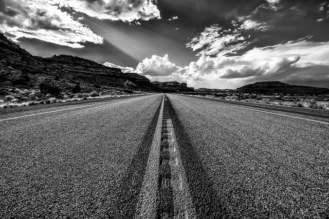 The Road Ahead - the road forms strong converging lines due to the ultra wide angle of view the photo was taken with