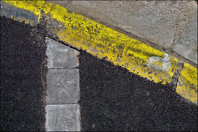 Abstract photo of the edge of a road