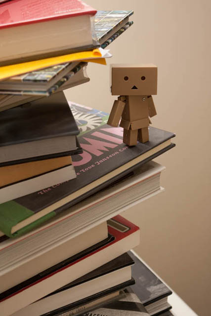 Photo of a Danbo mini perched on some books, lit by a small size speedlight at full power bounced from the ceiling