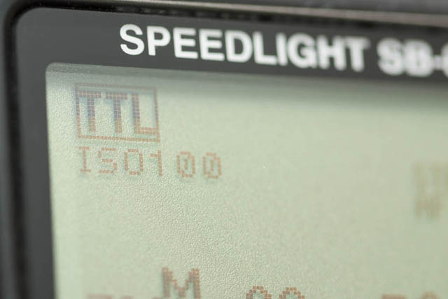 TTL exposure mode indicated on speedlight flash's LCD