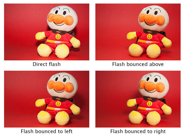 Comparison using a speedlight flash mounted in the camera's hotshoe. Top left - direct flash, Top right - flash bounced from above, Bottom left - flash bounced from left, Bottom right - flash bounced from right. Direct flash produces harsh light while bouncing the flash creates more pleasing softer light.