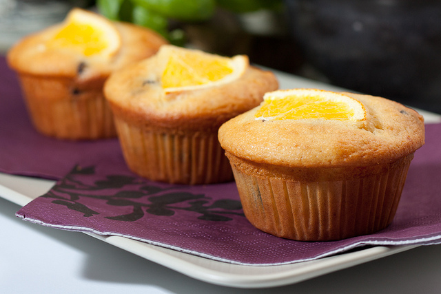 Chocolate orange muffins, lit by firing a speedlight flash with diffusion dome attached into a white card reflector behind and over the subject.