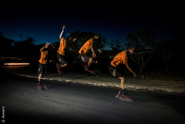 Sequence of rollerblade jump lit using stroboscopic flash