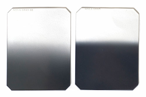 Hard edge and soft edge graduated split neutral density filters